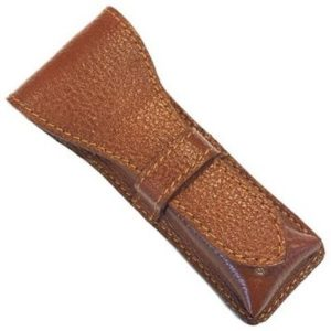 New Saddle Colour Leather Pouch For Safety Razor